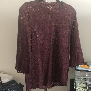 Zara floral lace tunic with wide cropped sleeves